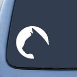 Cat Circle Silhouette - Car, Truck, Notebook, Vinyl Decal Sticker #2562 | Vinyl Color: White