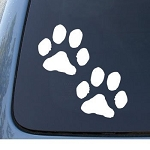 PAW PRINTS - Puppy Dog - Car, Truck, Notebook, Vinyl Decal Sticker #1099 | Vinyl Color White