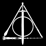 Deathly Hallows LOTR Star Wars Harry Potter Decal Vinyl Sticker|Cars Trucks Vans Walls Laptop| White |5.5 x 5 in|LLI112