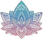 Beautiful Tribal Henna Pattern Lotus Flower - Pink Blue Ombre Vinyl Decal Sticker (4