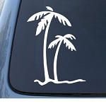 PALM TREES - Tropical Beach - Car, Truck, Notebook, Vinyl Decal Sticker #1027 | Vinyl Color: White