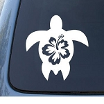 HIBISCUS TURTLE - Tropical - Car, Truck, Notebook, Vinyl Decal Sticker #1212 | Vinyl Color: White