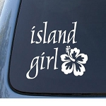 ISLAND GIRL - Hawaii Hibiscus - Car, Truck, Notebook, Vinyl Decal Sticker #1162 | Vinyl Color: White