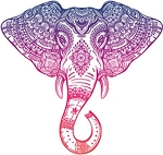 Purple Pink Ombre Henna Pattern Elephant Head Drawing Vinyl Decal Sticker (4