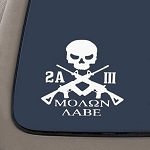 CMI NI268 2A Molon Labe 3 Percenter Decal | Premium Quality White Vinyl Decal | 5-Inches X 5.3-Inches | 2nd Amendment Decal