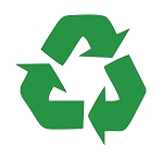 Recycling Symbol green vinyl cut-out sticker 4.5