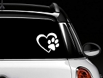 Decalgeek HEART with DOG PAW Puppy Love Vinyl Decal Window Sticker for Cars, Trucks, Windows, Walls, Laptops (4