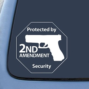 "BargainMax Protected by 2nd Amendment Security Gun Sticker Decal Notebook Car Laptop 6"" (White)"