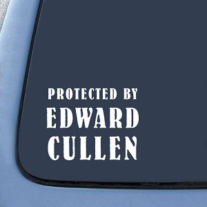 "BargainMax Protected by Edward Cullen Twlight New Moon Sticker Decal Notebook Car Laptop 8"" (White)"
