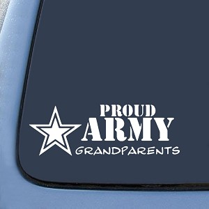 "BargainMax Proud Army Grandparents Sticker Decal Notebook Car Laptop 6"" (White)"