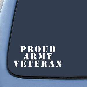 "BargainMax US Army Star Veteran Sticker Decal Notebook Car Laptop 8"" (White)"