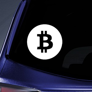 "BargainMax Bitcoin Sticker Decal Notebook Car Laptop 6"" (White)"